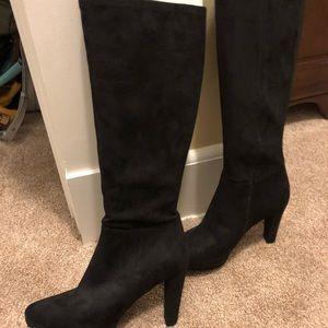 Tahari Black Suede high heel boots